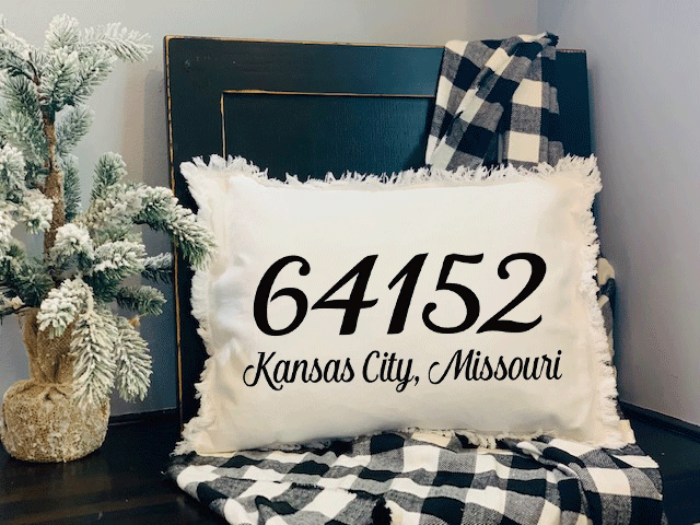 Zip Code Pillow on Frayed Pillow with Insert,  Zip Code, City and State