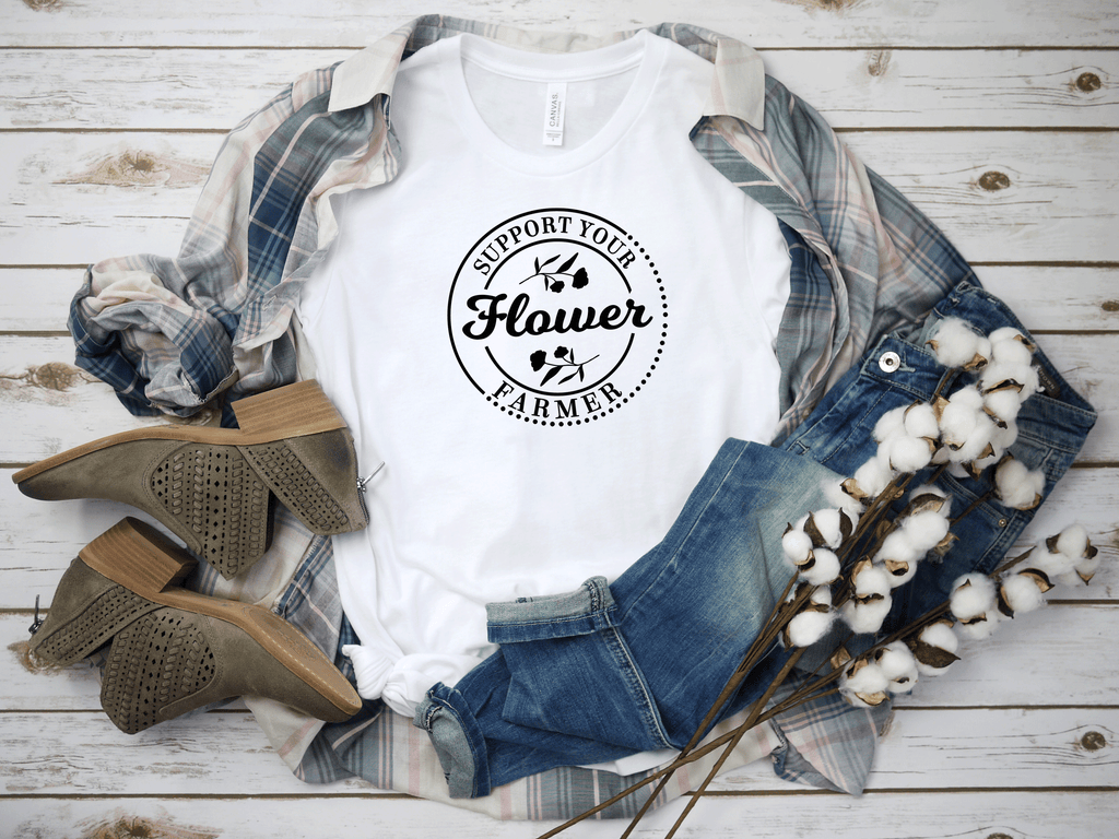 Support Your Flower Farmer T-Shirt on white