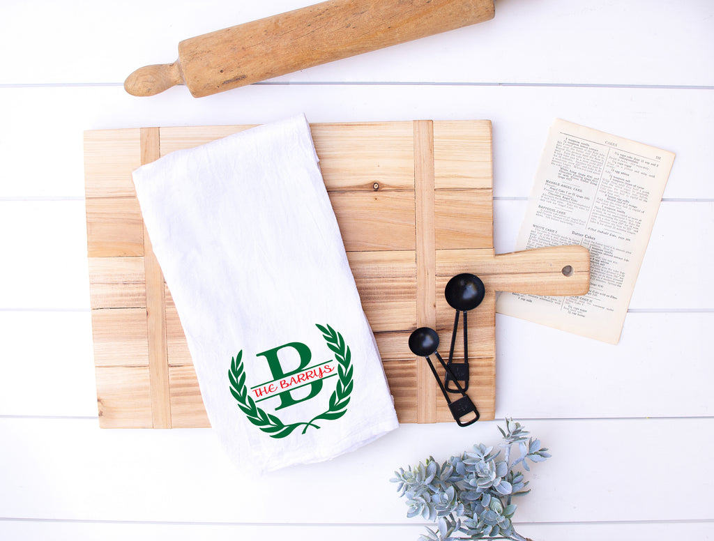 Personalized Kitchen Flour Sack Hand Towels on cutting board