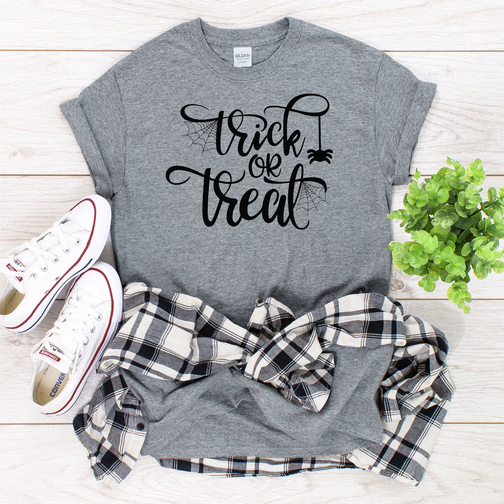 Trick or Treat T-Shirt on gray
