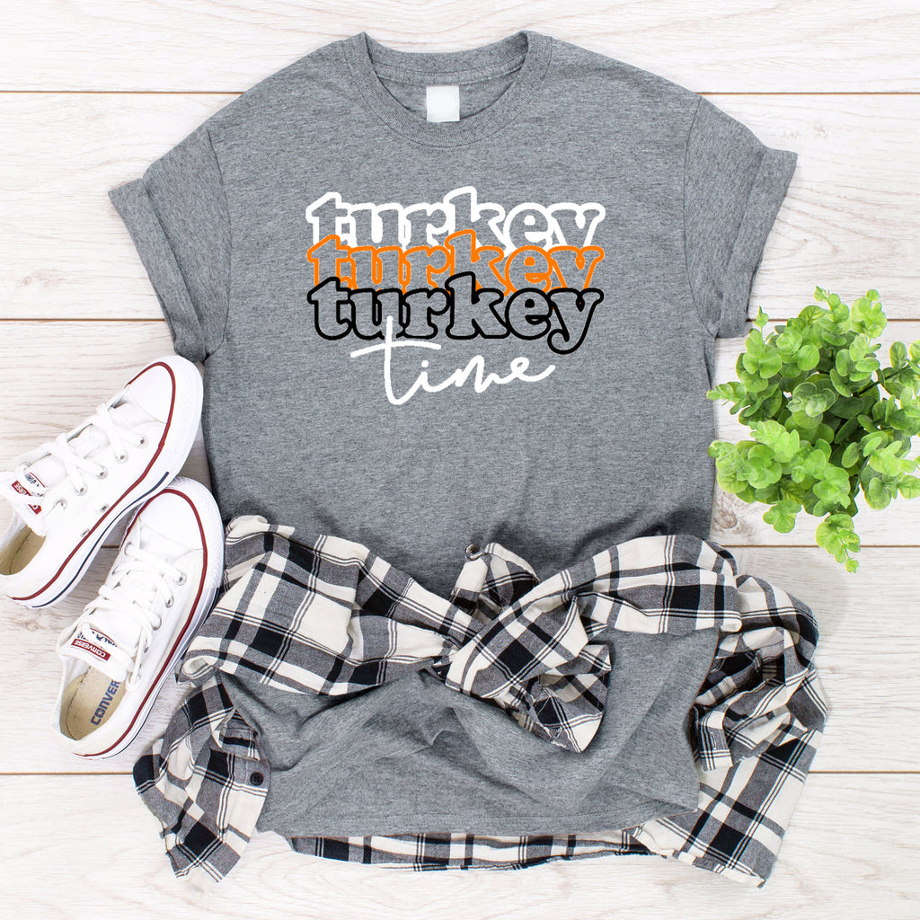 Turkey Time Thanksgiving T-Shirt on gray