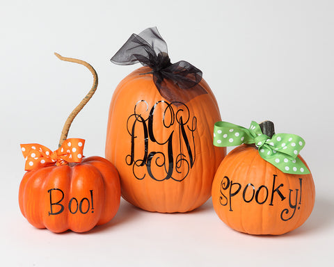 Monogram Vinyl Decals for your pumpkins.  Add some personalization to your pumpkins with these vinyl monograms. Set of 3: Monogram, Spooky, & Boo!