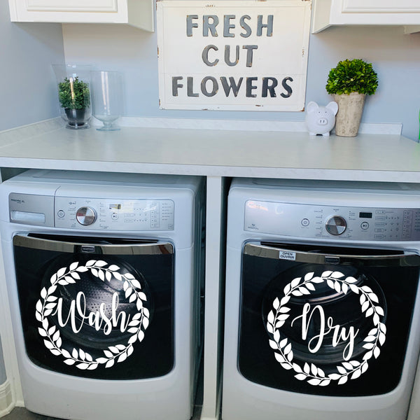Laundry Room Decor | Washer and Dryer Decals |Vine Wreath | Wash | Dry