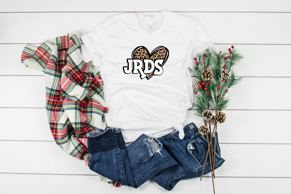 Leopard Heart with JRDS In White Letters T-Shirt
