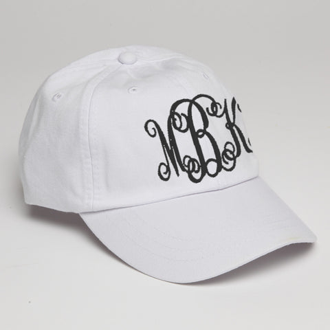 Monogram Baseball Hat-White