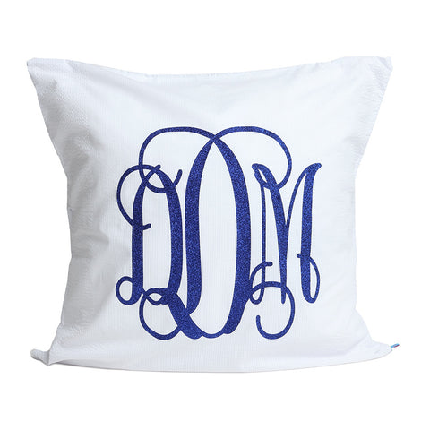 White Seersucker Monogrammed Euro Sham Pillow