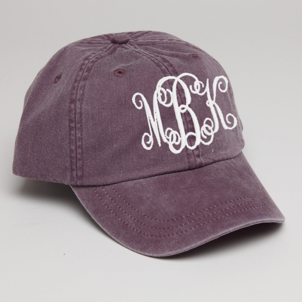 Monogrammed Baseball Hat in Wild Plum