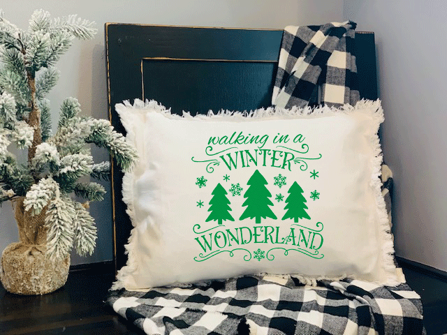 Walking In A Winter Wonderland Fringed White Pillow with Insert