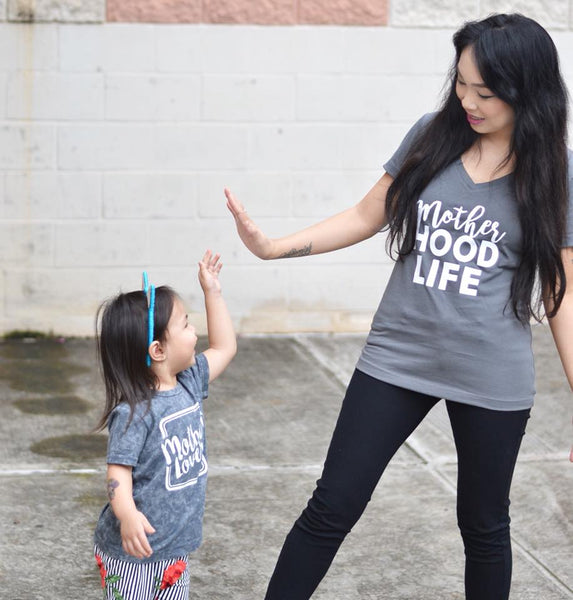 Mother HOOD LIFE™ V-Neck Charcoal Tee