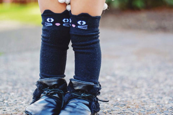 Black Cat Knee High Heel-less Socks