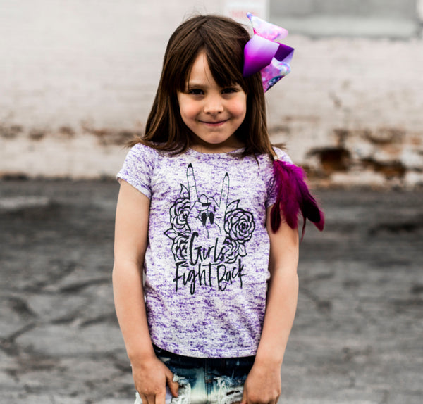 Girls Fight Back Burnout Purple Kids Tee