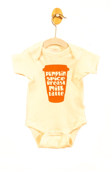 Organic Onesie with Pumpkin Breast Milk Latte Print(Newborn-24 months)