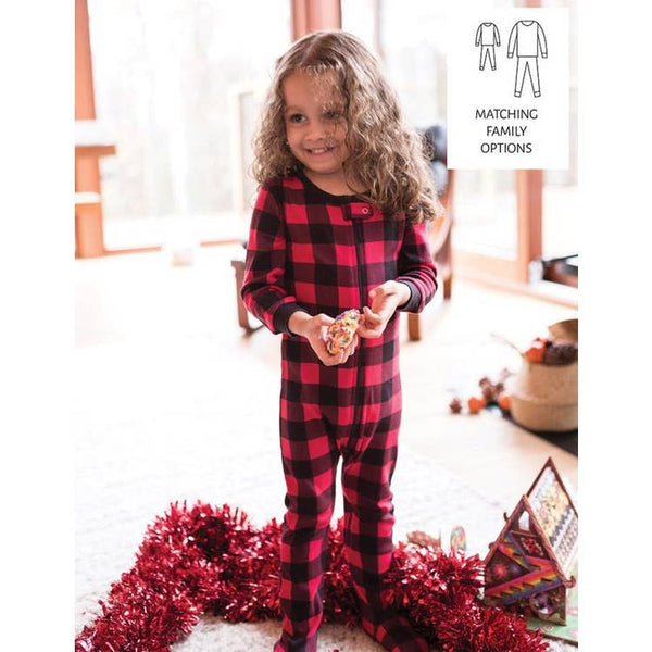 Stripe & Plaid Footed Pajamas