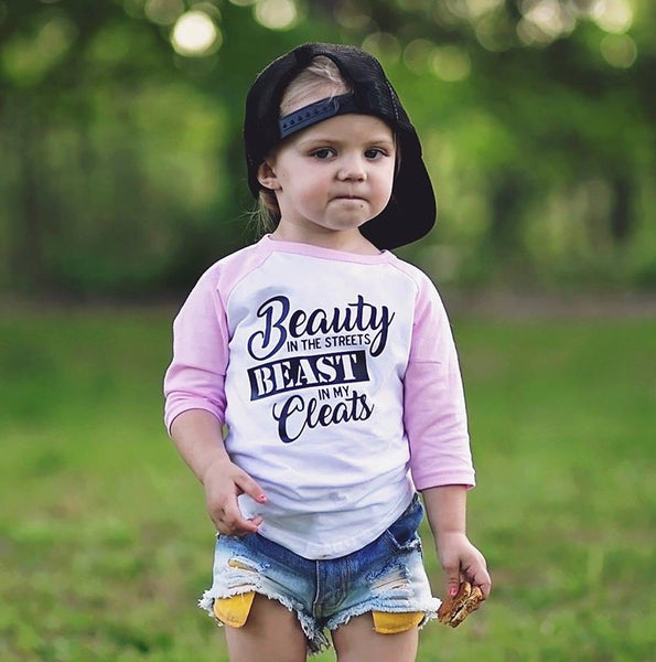 Beast in my Cleats Kids Raglan Tee