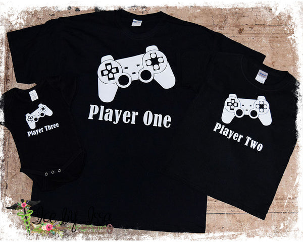Player One & Player Two Playstation Onesie & T-shirt Set