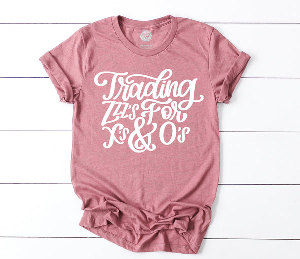 Trading Zzz's for X's and O's Adults Tee (3 color options!)