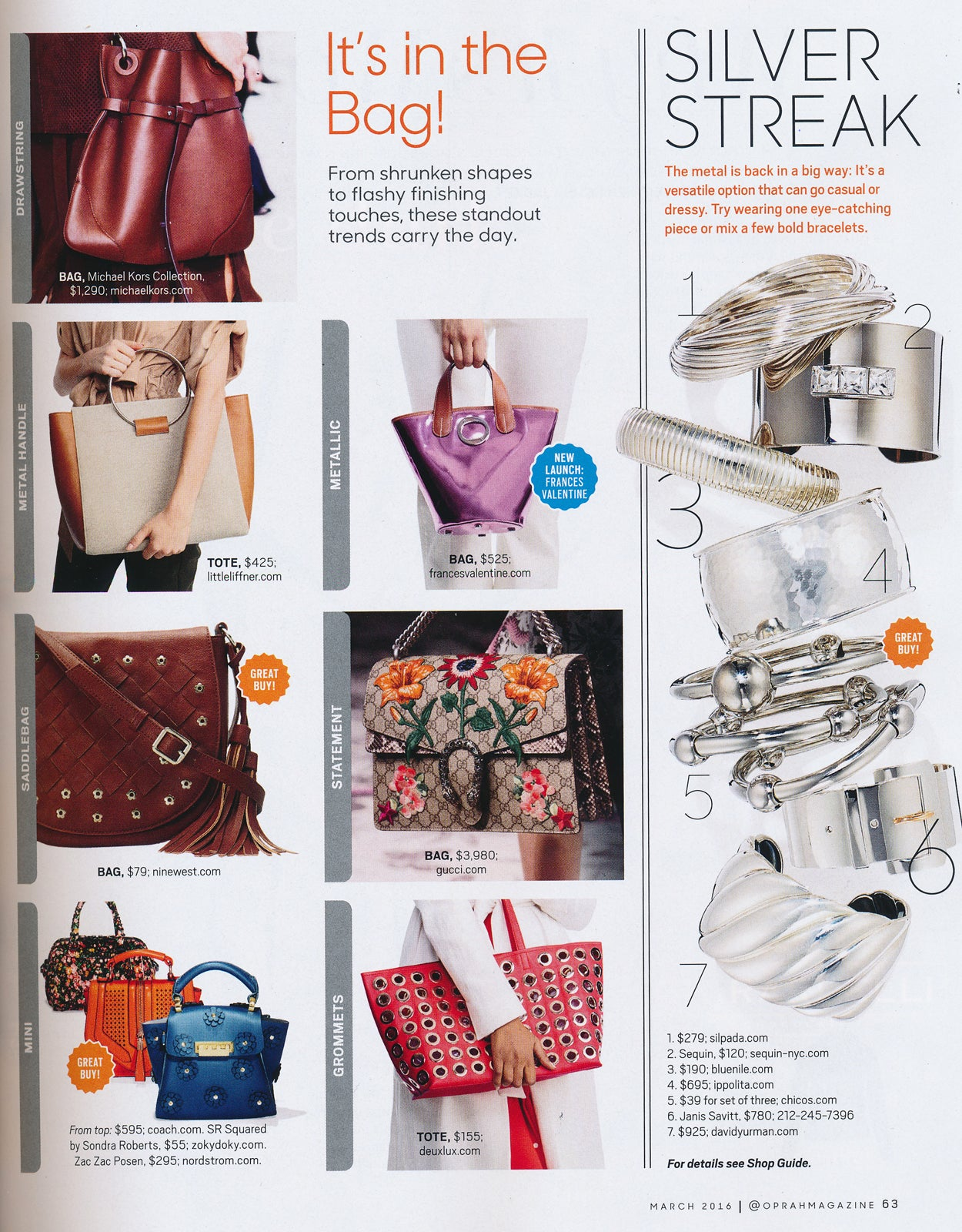 O, The Oprah Magazine - March 2016, featuring Sequin's Carre Cuff