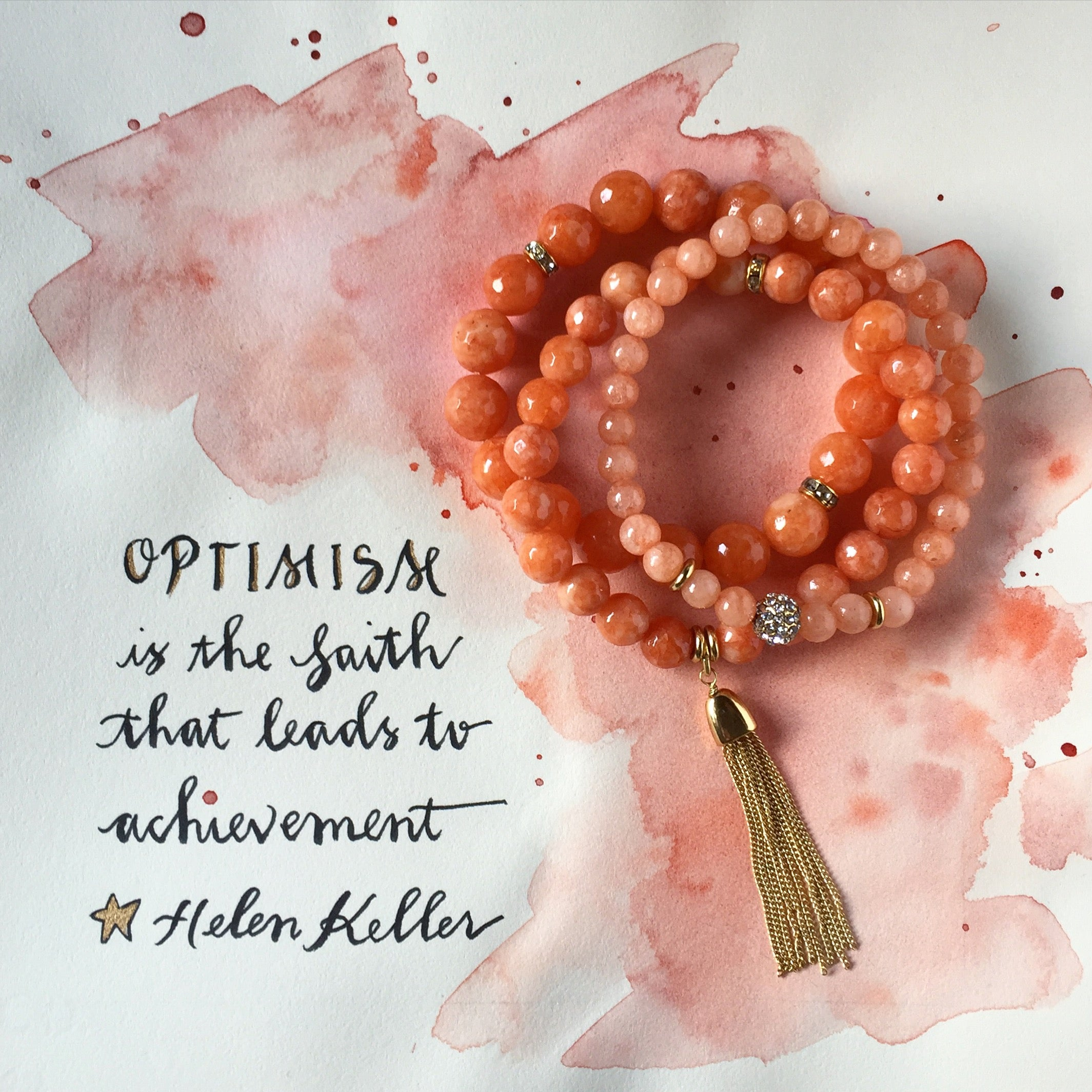 #SequinSayings - Optimism (Coral Color Karma Bracelet Set)