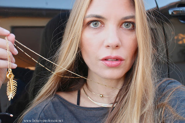 Beauty Professor showing a layered look featuring Sequin's Custom Talisman Necklace