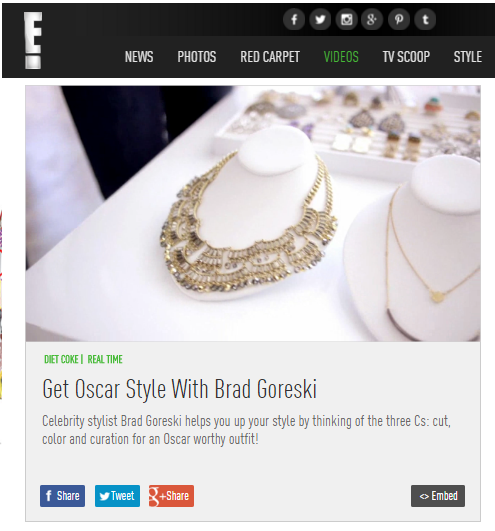 EOnline segment with Brad Goreski featuring Sequin