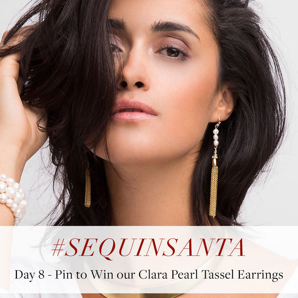 #SequinSanta Day 8 - Pin to Win Clara Pearl Tassel Earrings