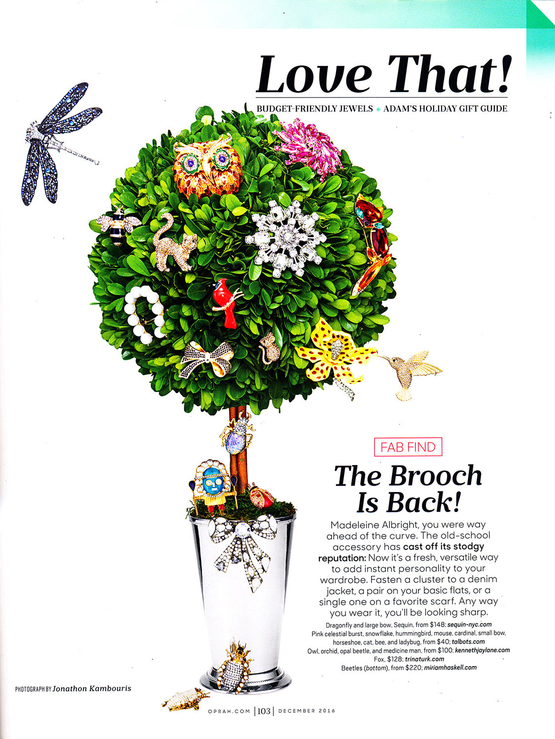 Sequin's Dragonfly & Bow Brooches featured in O, The Oprah Magazine