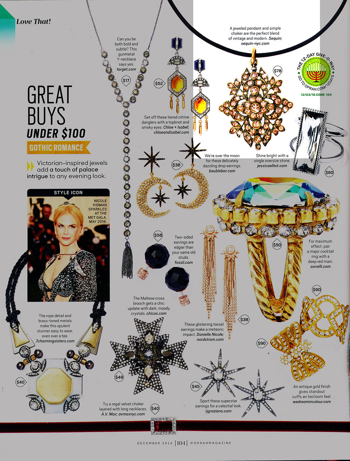 Sequin Filigree Choker Necklace as seen in O, The Oprah Magazine