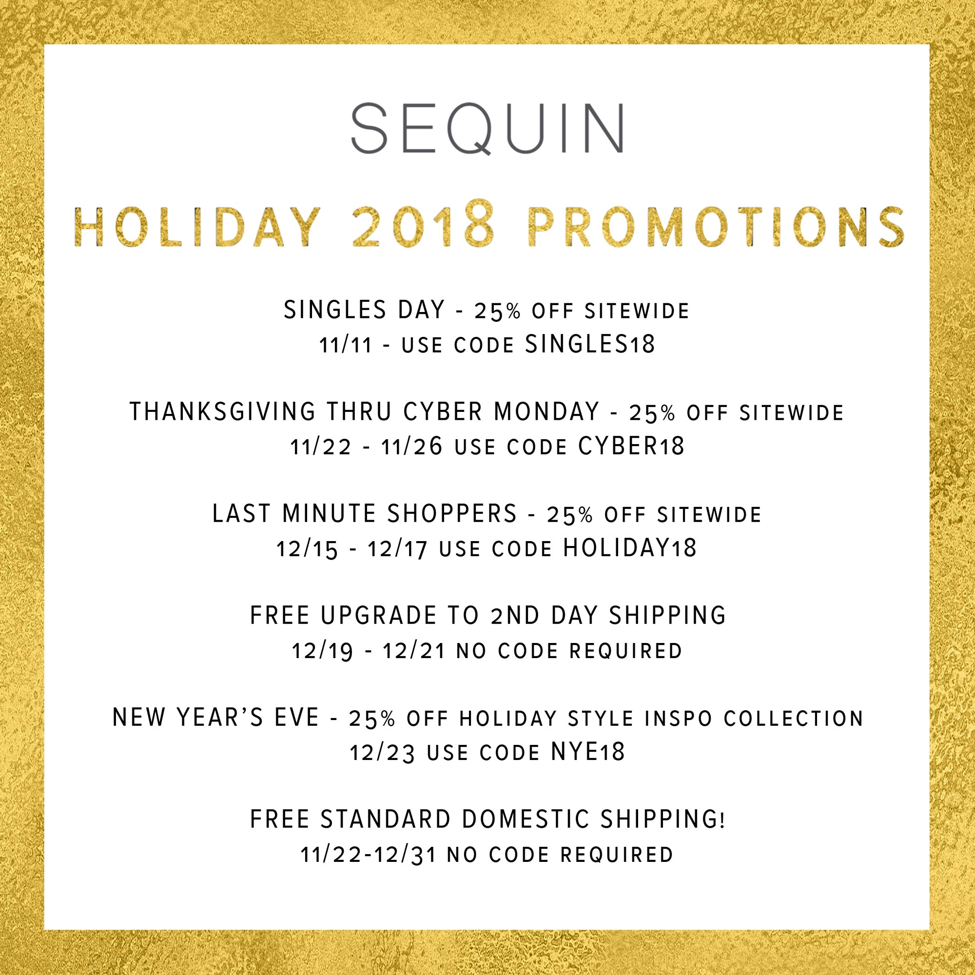 Sequin Holiday 2018 Promotions