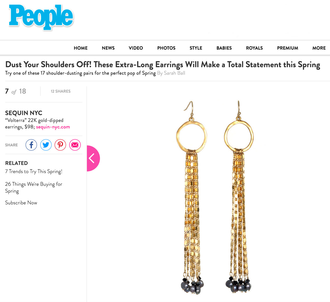 Sequin Earrings featured on PeopleStyleWatch.com