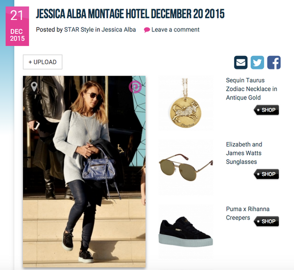 Jessica Alba Wearing Sequin's Taurus Zodiac Necklace, as seen on StarStyle.com