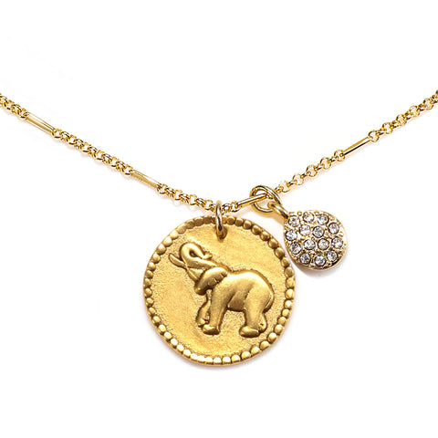 Elephant Medallion Talisman Necklace
