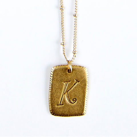 """K"" Smooth Initial Necklace"