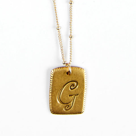 """G"" Smooth Initial Necklace"