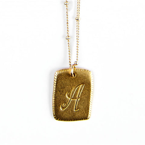 """A"" Smooth Initial Necklace"