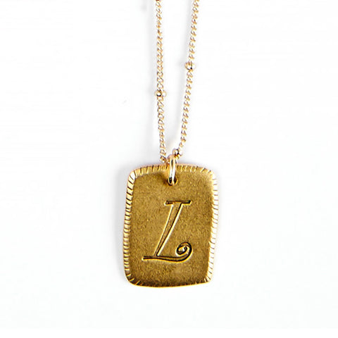 """L"" Smooth Initial Necklace"