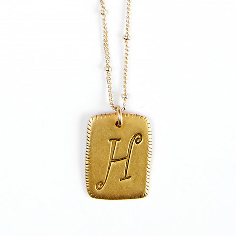 """H"" Smooth Initial Necklace"