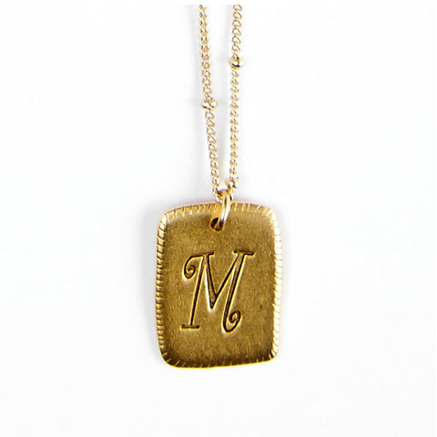 """M"" Smooth Initial Necklace"