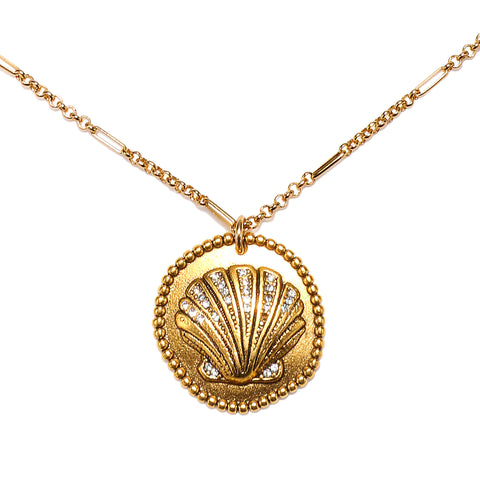 Scallop Shell Medallion Talisman Necklace