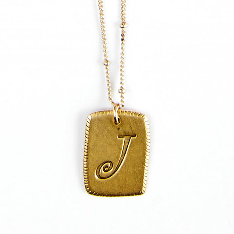 """J"" Smooth Initial Necklace"