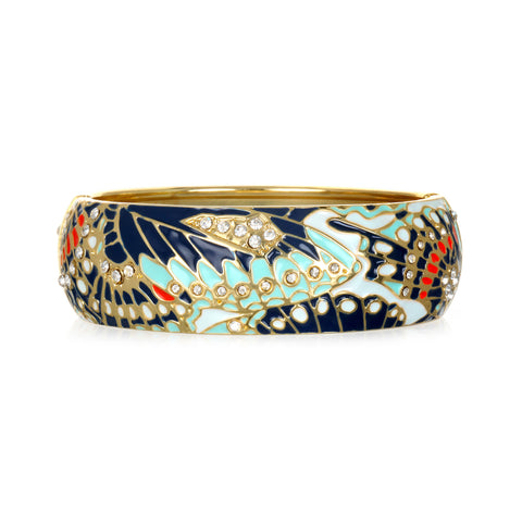 Mariposa Navy Wide Bangle Bracelet