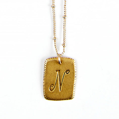 """N"" Smooth Initial Necklace"
