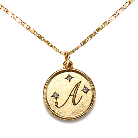 """A"" Round Script Initial Necklace"