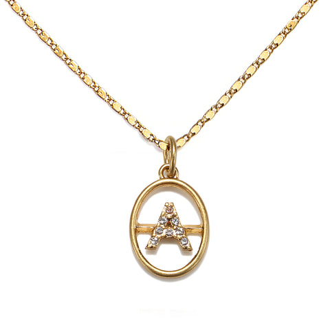 """A"" Chloe Initial Talisman Necklace"