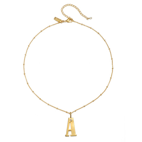 """A"" Block Initial Talisman Necklace"
