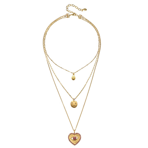 Adaatude Love + Luck 3-Strand Talisman Necklace