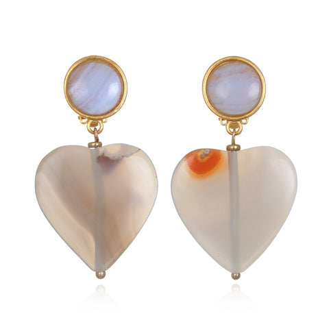 Agate Heart Drop Earrings