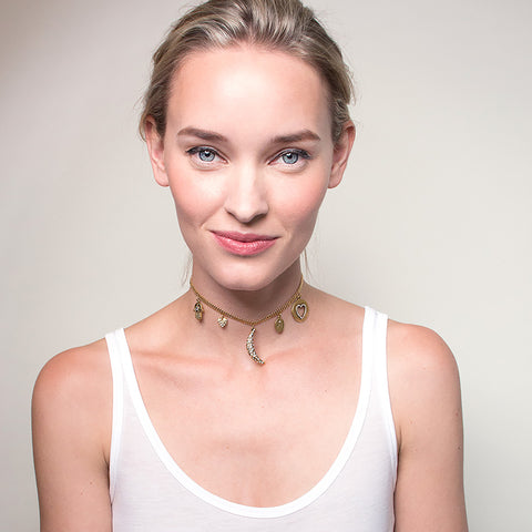 All Good Things 2 Talisman Choker Necklace - Mesh Chain
