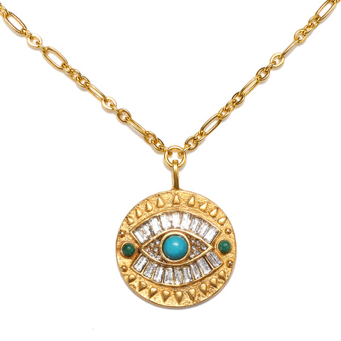 All-Seeing Evil Eye Talisman Medallion Necklace