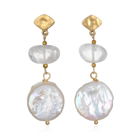 Angel Tears Pearl & Crystal Drop Earrings