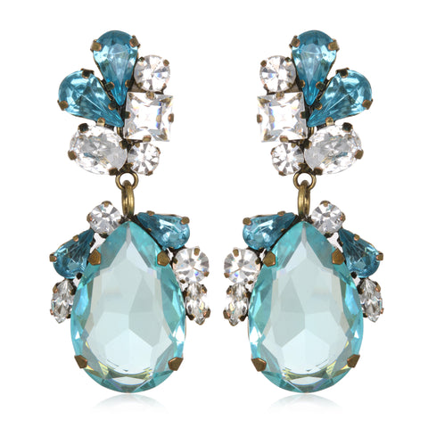 Aqua Juicy Crystal Drop Earrings